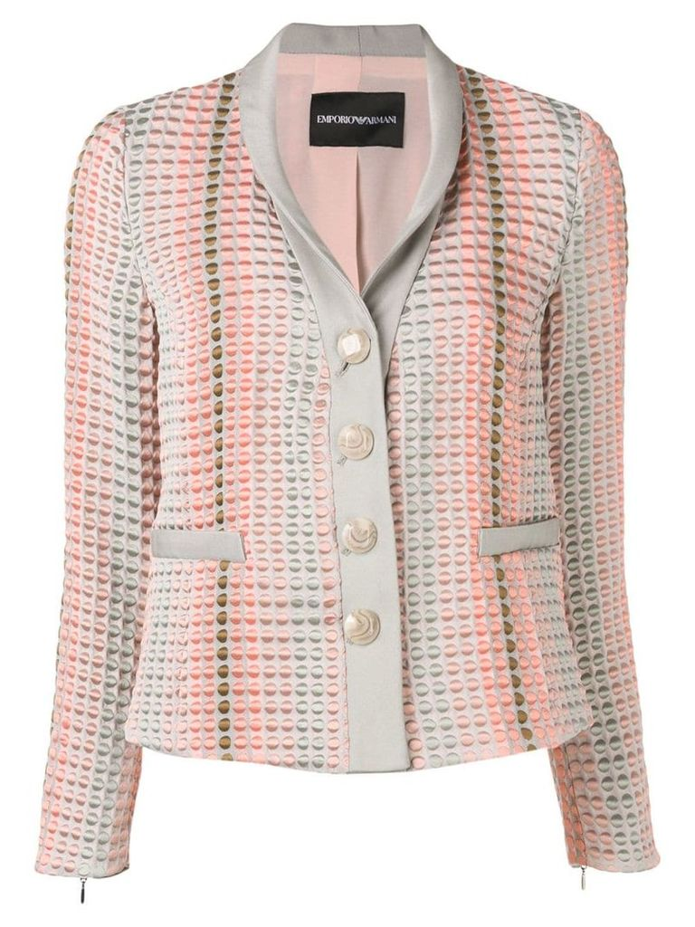 Emporio Armani textured button blazer - Grey
