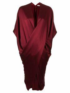 Poiret draped V-neck dress - Red