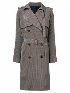 Rokh micro check trench coat - Black