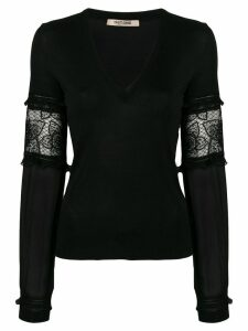 Roberto Cavalli sheer sleeves pullover - Black