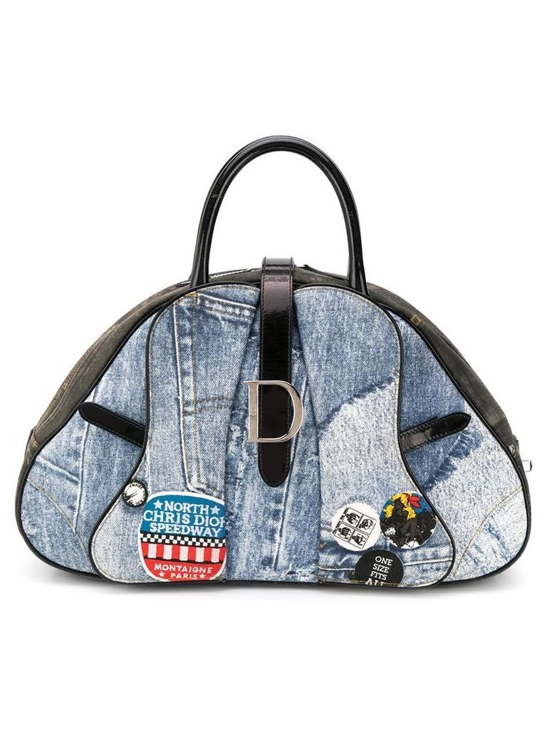 Christian Dior Vintage denim print saddle bag - Blue