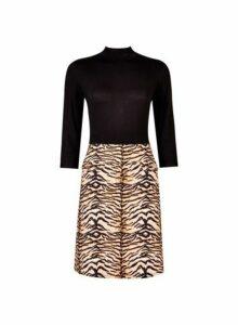 Womens Black Tiger Print 2-In-1 Dress- Black, Black