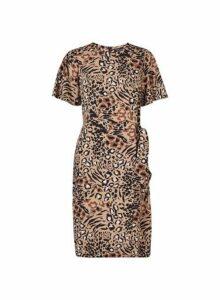 Womens Multi Coloured Leopard Print Tie Side Pencil Dress- Multi Colour, Multi Colour