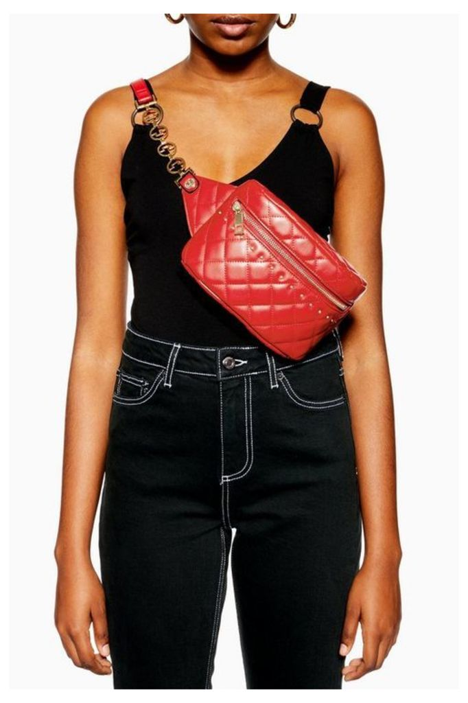 Womens Britt Red Quilted Bumbag - Red, Red