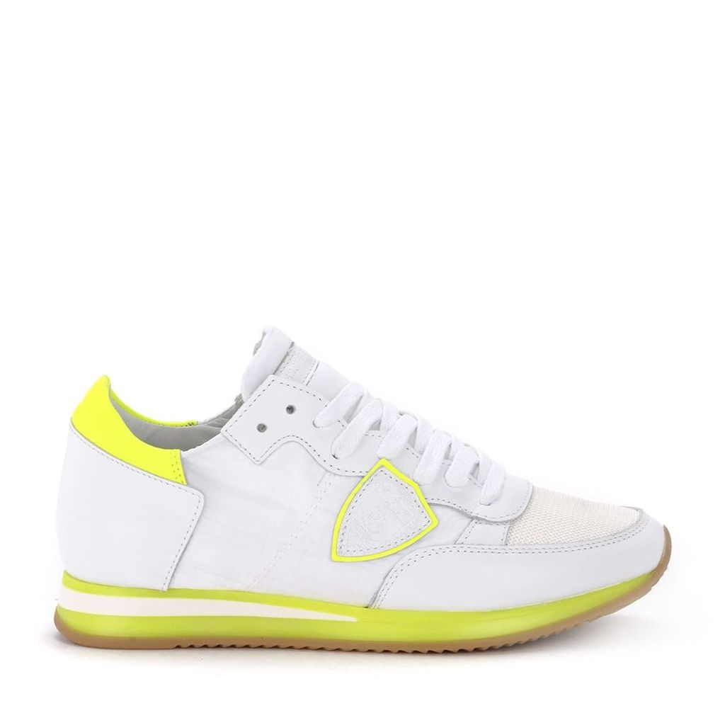 Philippe Model Tropez Whiteand Fluo Yellow Fabric And Leather Sneaker