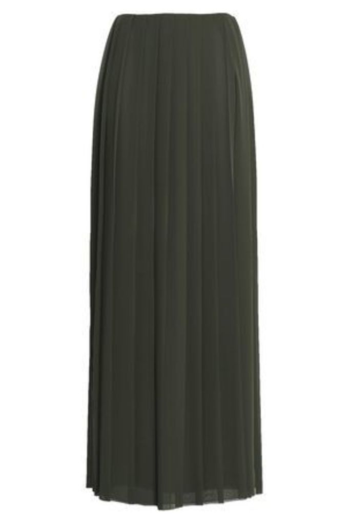 Vionnet Woman Pleated Georgette Maxi Skirt Army Green Size 44