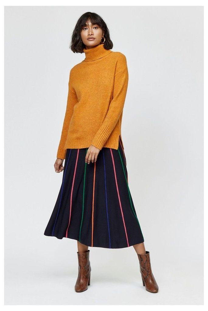 Womens Warehouse Black Multi Stripe Knitted Skirt -  Black