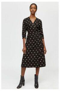 Womens Warehouse Black Spot Print Midi Dress -  Black