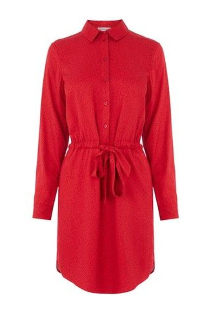 Womens Warehouse Red Letter Print Shirt Dress -  Red
