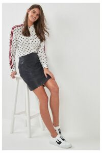 Womens BOSS Navy Leather Effect Skirt -  Blue