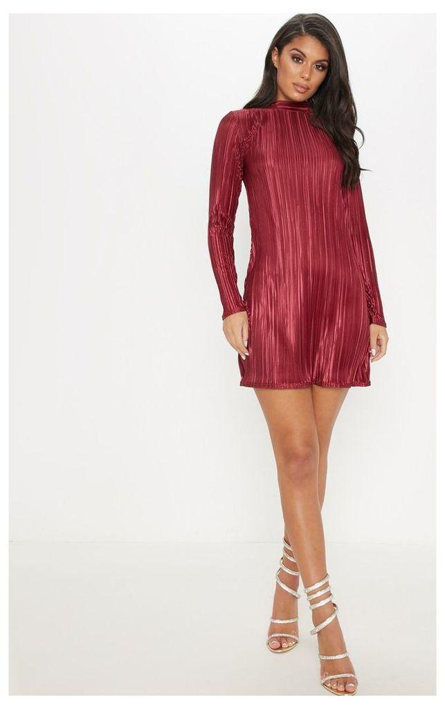 Burgundy High Neck Plisse Swing Dress, Red