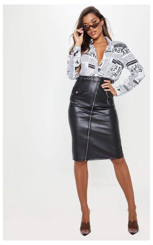 Black Faux Leather Biker Midi Skirt, Black