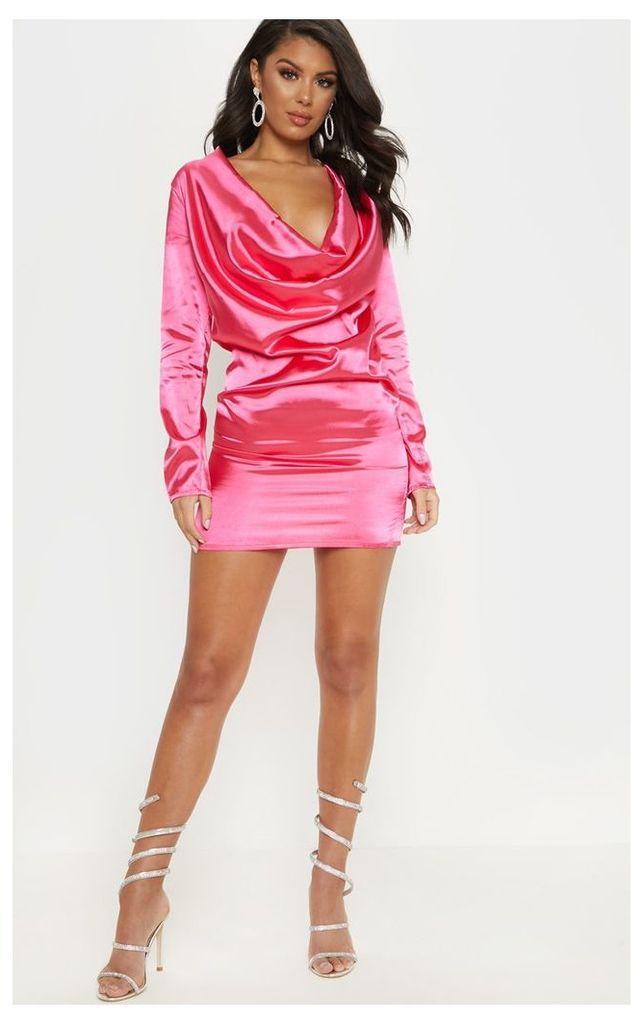 Hot Pink Satin Cowl Bodycon Dress, Hot Pink