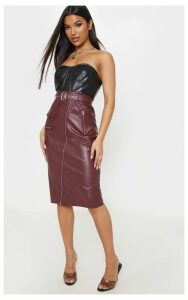 Burgundy Faux Leather Biker Midi Skirt, Red