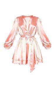 Rose Satin Balloon Sleeve Shift Dress, Pink