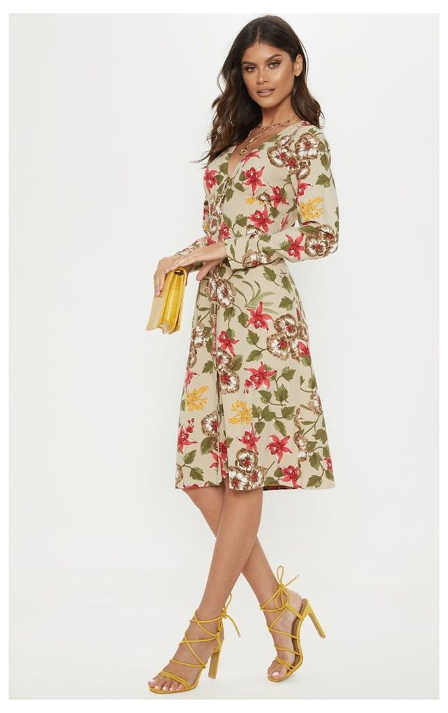 Light Khaki Floral Print Button Front Midi Dress, Green