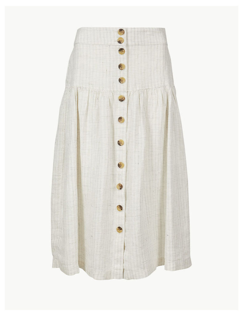 M&S Collection Pure Linen Checked A-Line Midi Skirt