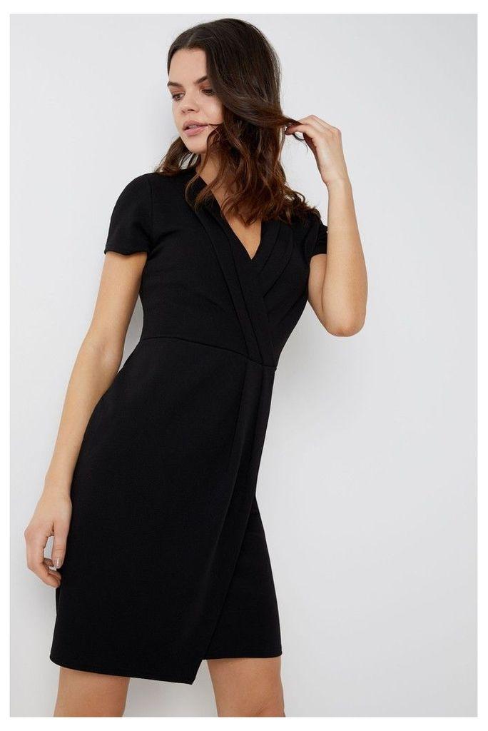 Womens Dorothy Perkins Pleated Wrap Pencil Dress -  Black