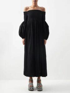 The Row - Siena Oversized Silk Organza Shirt Dress - Womens - Black