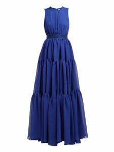 Maison Rabih Kayrouz - Gaze Tiered Crepe Gown - Womens - Blue