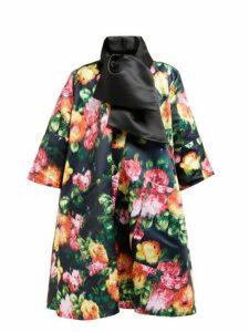 Richard Quinn - Floral Print A Line Opera Coat - Womens - Black Multi