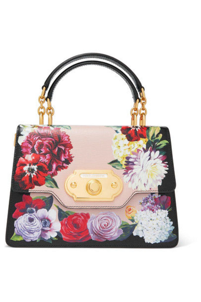 Dolce & Gabbana - Welcome Medium Floral-print Textured-leather Tote - Black