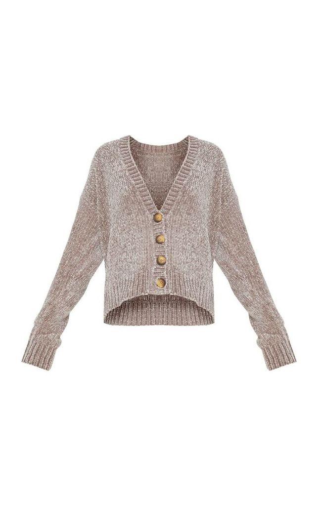 Grey Chenille Knitted Cardigan, Grey