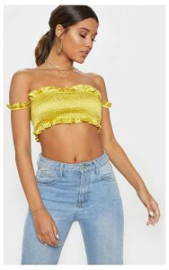 Chartreuse Shirred Satin Bardot Crop Top, Chartreuse