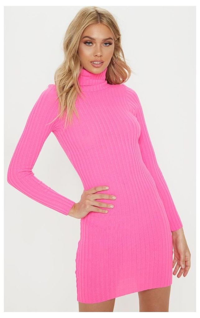 Pink Ribbed Knitted Roll Neck Dress, Pink