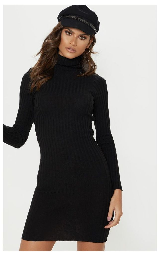 Black Ribbed Knitted Roll Neck Dress, Black