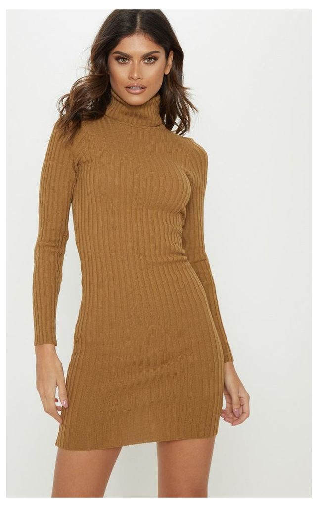 Camel Ribbed Knitted Roll Neck Dress, Camel