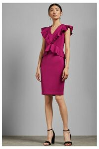 Womens Ted Baker Pink Alair Ruffle Peplum Bodycon Dress -  Pink