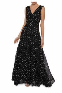 Womens Gina Bacconi Black Calandra Spot Chiffon Maxi Dress -  Blue