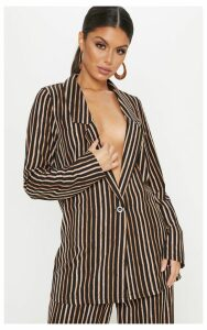 Black Stripe Longline Blazer, Black