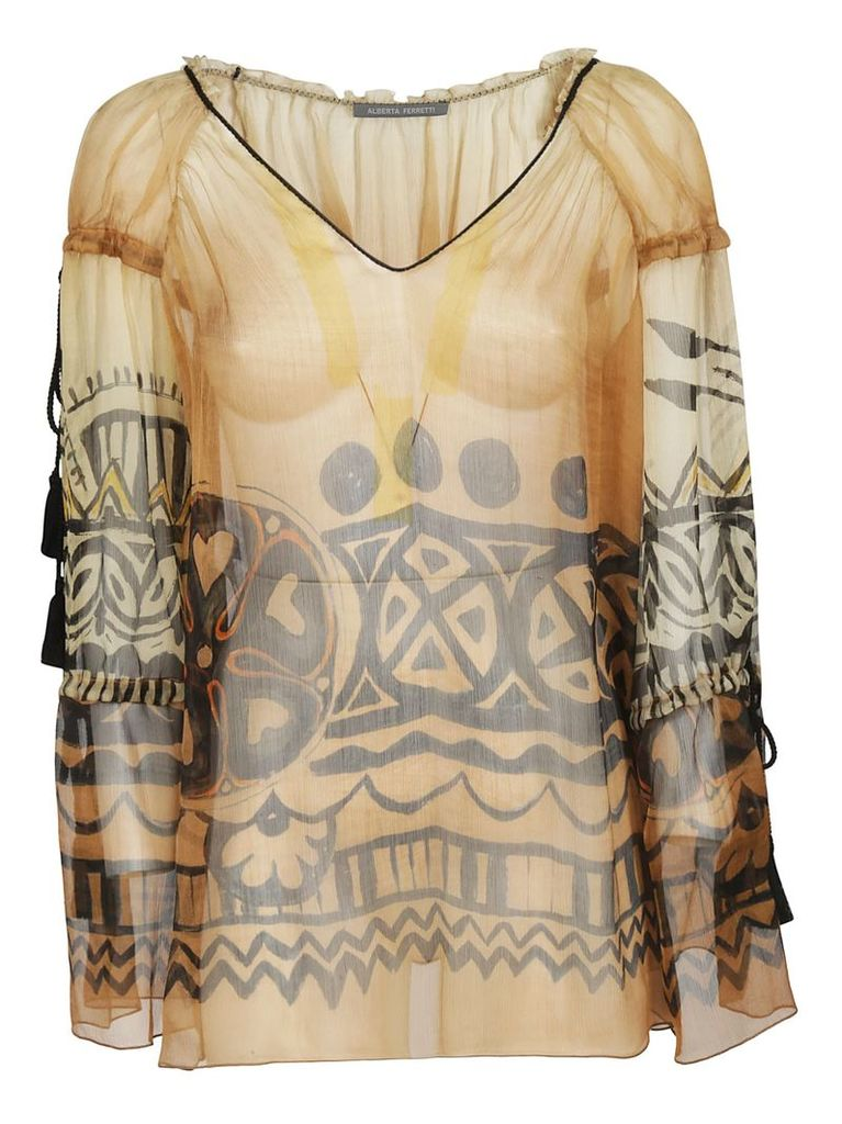 Alberta Ferretti Sheer Patterned Blouse