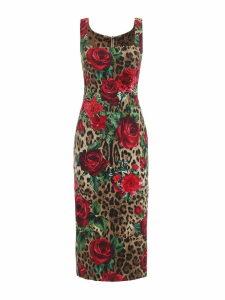 Dolce & Gabbana Leopard Rose Print Dress