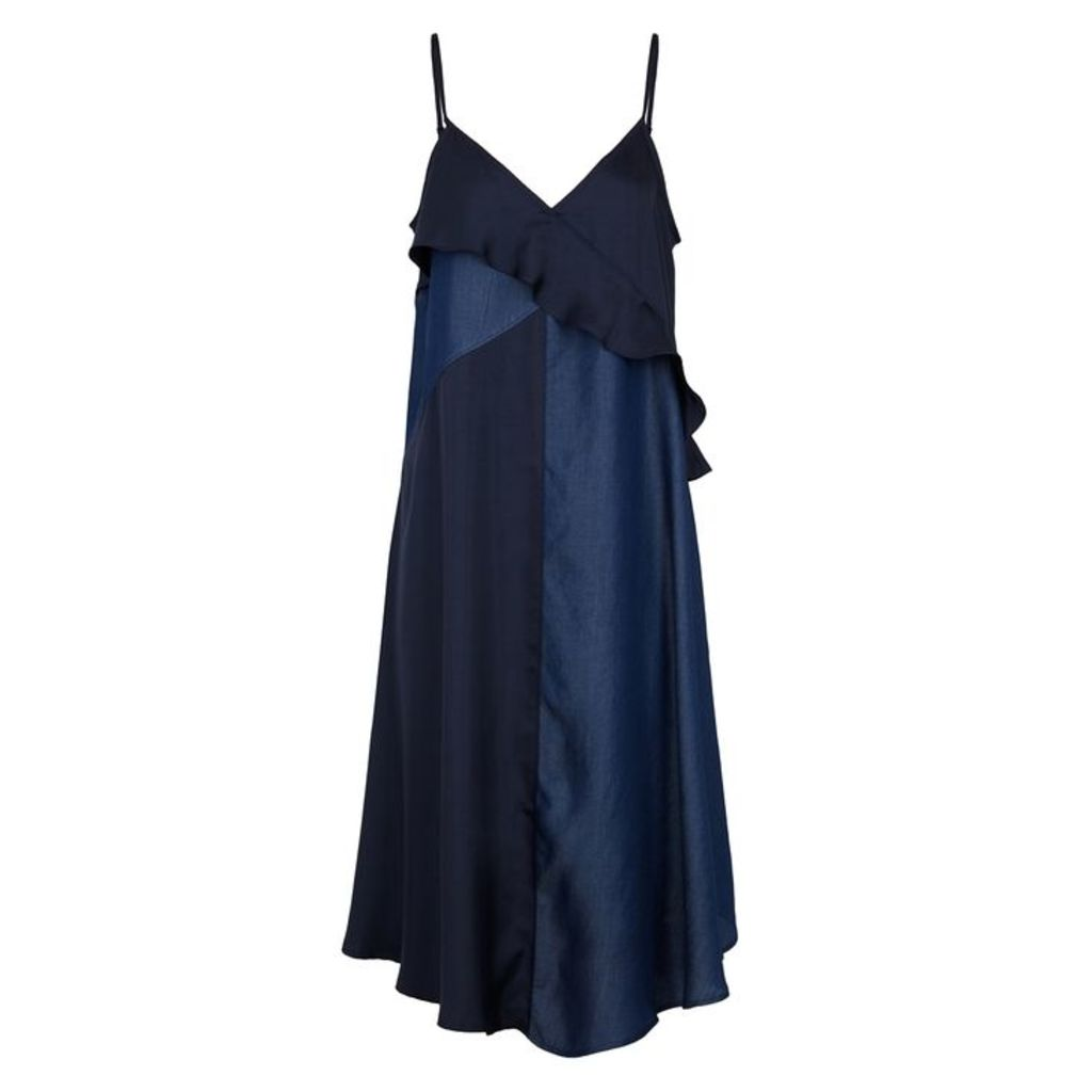 Clu Navy Ruffle-trimmed Satin Midi Dress
