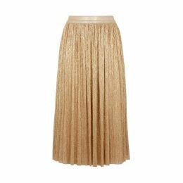 Alice + Olivia Melda Gold Plissé Midi Skirt