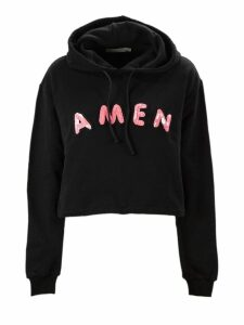 Amen Black Cotton Cropped Sweatshirt