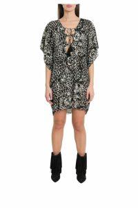 Saint Laurent Leopard Print Silk Dress With Laces And Tassels