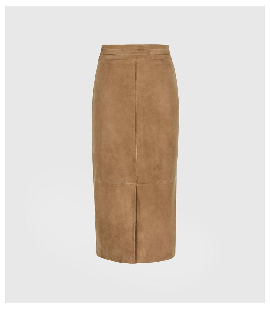Reiss Ava - Suede Pencil Skirt in Tan, Womens, Size 14