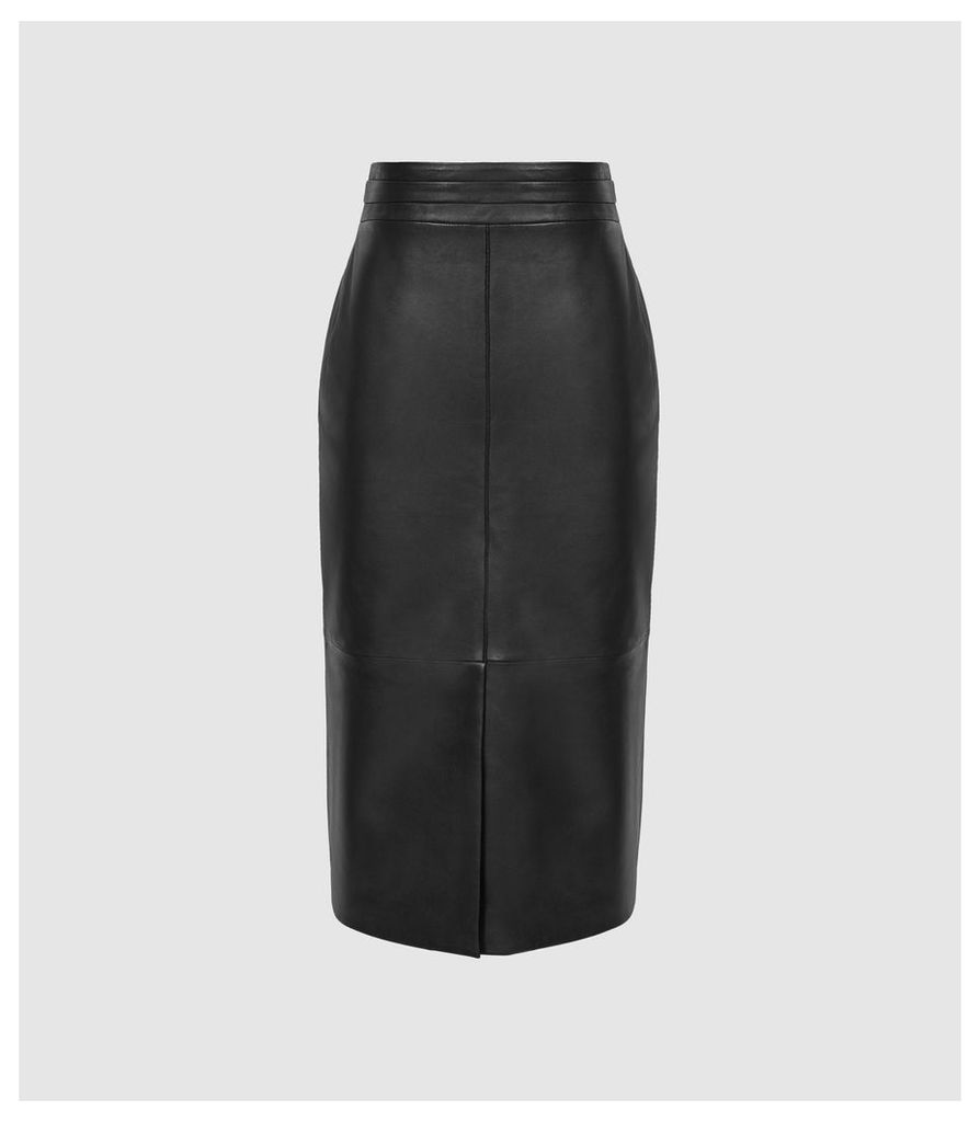 Reiss Maya - Leather Front Split Pencil Skirt in Black, Womens, Size 14