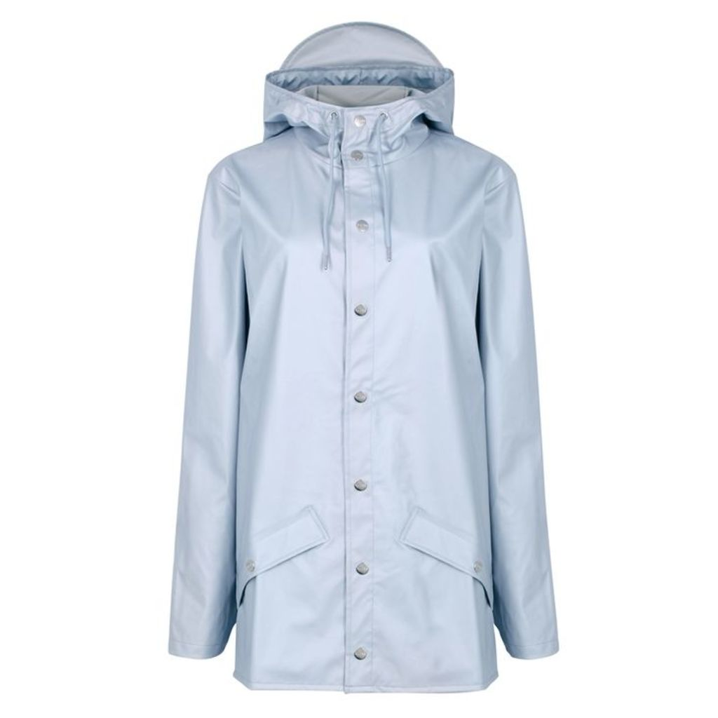 Rains Pale Grey Metallic Rubberised Raincoat