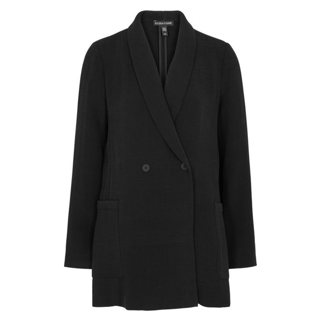 EILEEN FISHER Black Textured Double-breasted Blazer