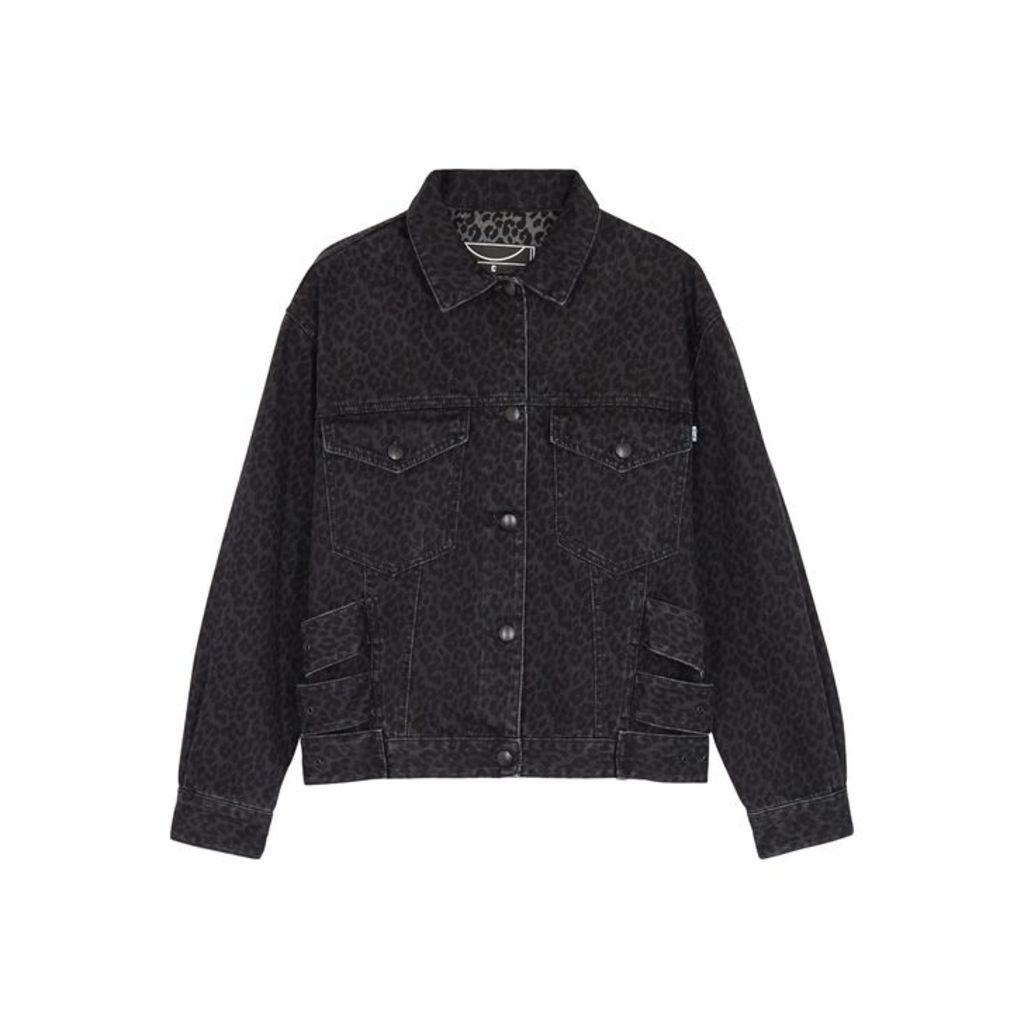 McQ Alexander McQueen Grey Leopard-print Denim Jacket