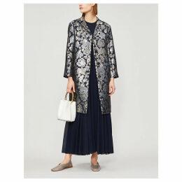 Osmunda metallic floral-jacquard coat