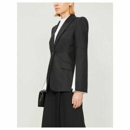 Striped slit-sleeve woven blazer