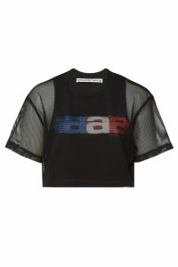 Alexander Wang Printed Cropped Top with Mesh