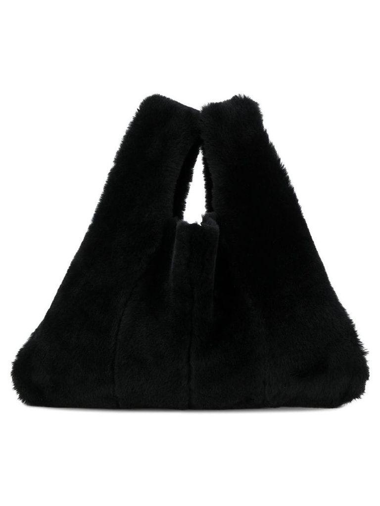 Kara fur shopper tote - Black