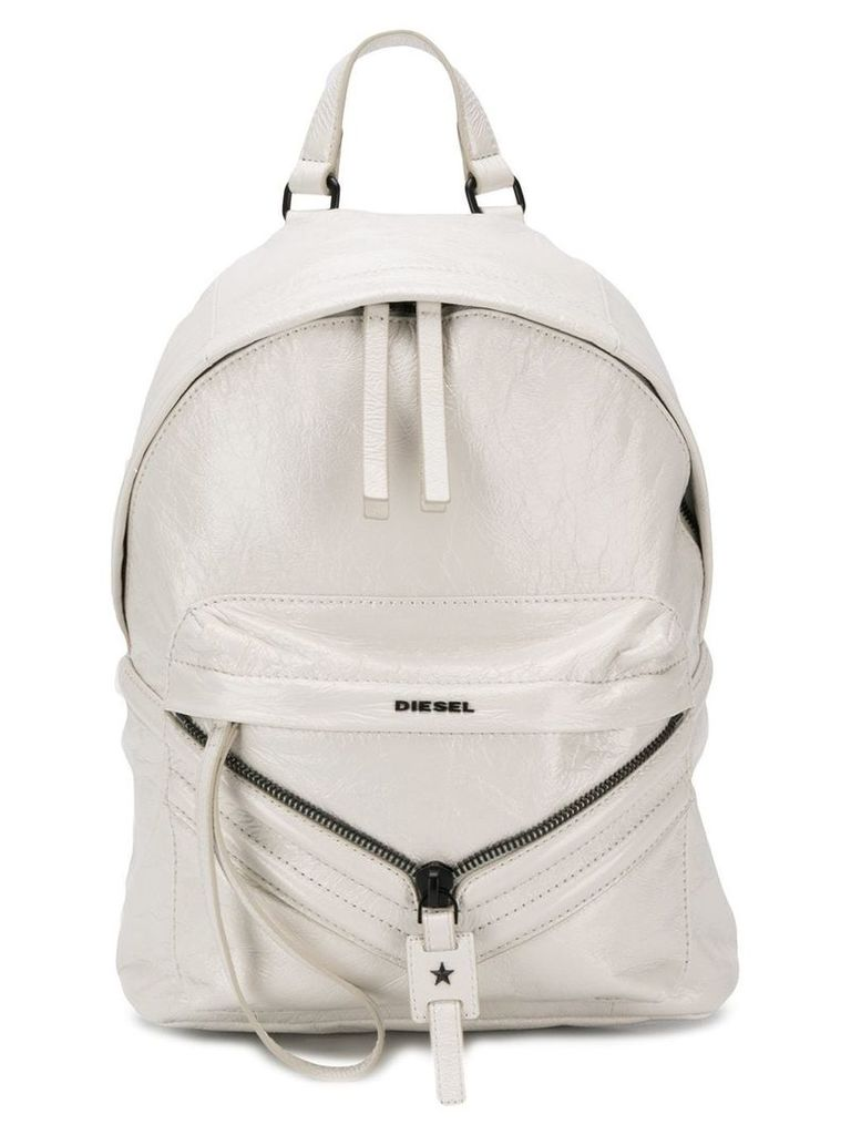 Diesel coated leather patched backpack - White